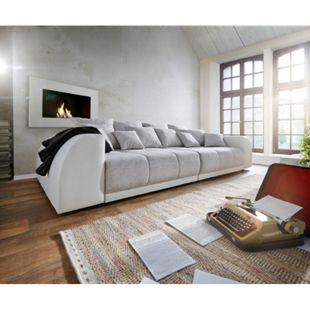 Bigsofa Violetta Creme Hellgrau 310x135 inklusive 12 Kissen XXL Sofa - Bild 1