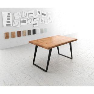 Massivholztisch Live-Edge Akazie Natur 140x90 Platte 5,5cm Gestell schräg schwarz Baumtisch - Bild 1