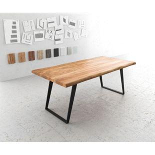 Massivholztisch Live-Edge Akazie Natur 200x100 Platte 5,5cm Gestell schräg schwarz Baumtisch - Bild 1