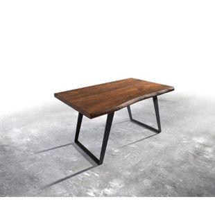 Massivholztisch Live-Edge Akazie Braun 140x90 Platte 5,5cm Gestell schräg schwarz Baumtisch - Bild 1