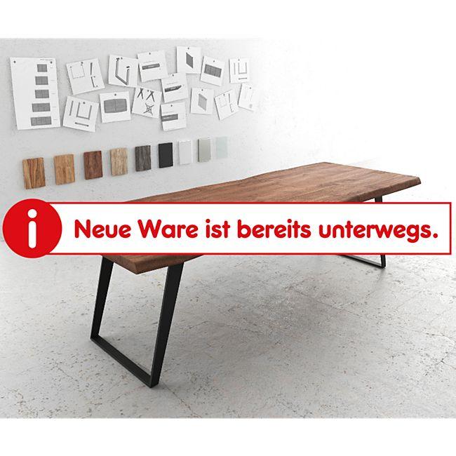 Massivholztisch Live-Edge Akazie Braun 260x100 Platte 5,5cm Gestell schräg schwarz Baumtisch - Bild 1