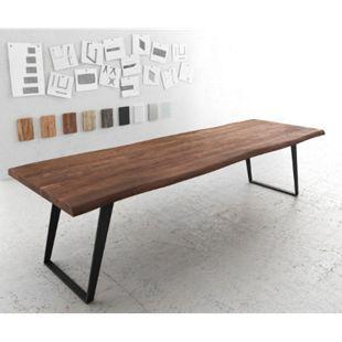 Massivholztisch Live-Edge Akazie Braun 300x100 Platte 5,5cm Gestell schräg schwarz Baumtisch - Bild 1