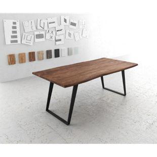 Esszimmertisch Edge Akazie Braun 200x100 Metall Schräg Live-Edge - Bild 1