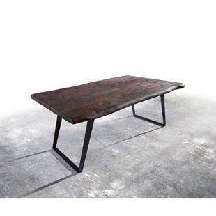 Massivholztisch Live-Edge Akazie Tabak 200x100 Platte 5,5cm Gestell schräg schwarz Baumtisch - Bild 1