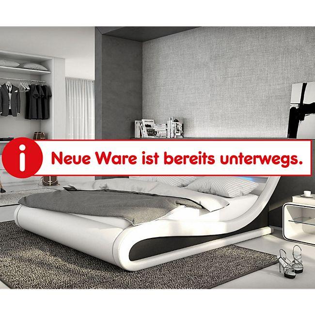 Bett Belana Weiss Schwarz 180x200 cm mit LED Kopfteil Polsterbett - Bild 1