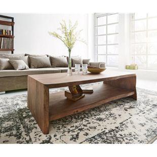 Wohnzimmertisch Live-Edge Akazie Braun 130x60 cm Baumkante Baumtisch - Bild 1