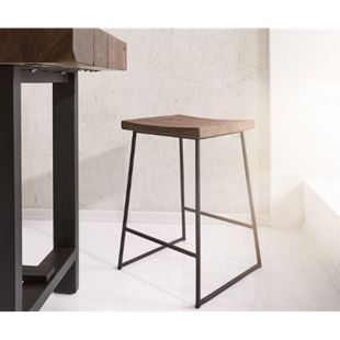 Barhocker Blokk Akazie Braun mit Fußablage Metallgestell Barstuhl - Bild 1