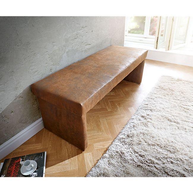 Polsterbank Olav Braun 140x53 cm Antik Optik gepolstert Sitzbank - Bild 1