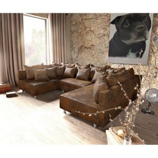 Couch Clovis Braun Antik Optik Wohnlandschaft modulares Sofa - Bild 1