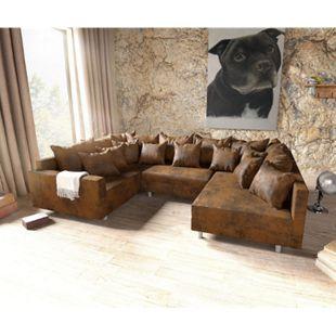 Couch Clovis Braun Antik Optik mit Armlehne Wohnlandschaft modular - Bild 1