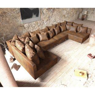 Couch Clovis XL Braun Antik Optik Wohnlandschaft Modulsofa - Bild 1