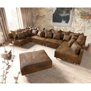 Couch Clovis XL Braun Antik Optik mit Hocker Wohnlandschaft Modules Sofa - Bild 1