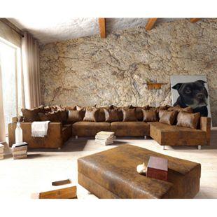 Couch Clovis XL Braun Antik Optik Hocker Armlehne Wohnlandschaft modular - Bild 1