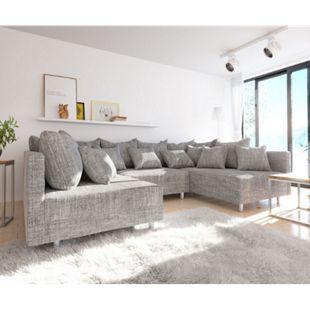 Couch Clovis Hellgrau Strukturstoff Wohnlandschaft Modulsofa - Bild 1