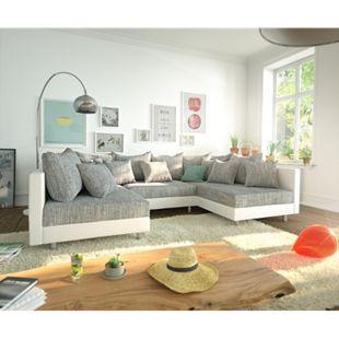 Couch Clovis Weiss Hellgrau Wohnlandschaft Modulares Sofa - Bild 1