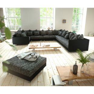 Couch Clovis XXL Schwarz Hocker Armlehne Ottomane Rechts Wohnlandschaft modular - Bild 1
