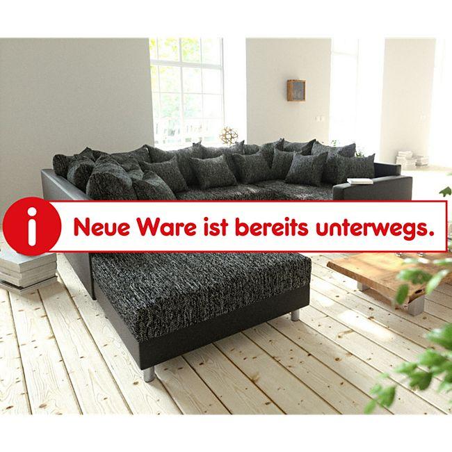 Couch Clovis Schwarz mit Hocker und Armlehne Wohnlandschaft - Bild 1