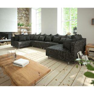 Couch Clovis XL Schwarz Strukturstoff Wohnlandschaft Modulares Sofa - Bild 1