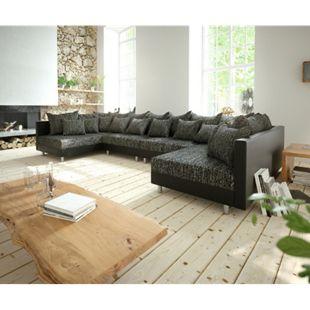 Couch Clovis XL Schwarz Wohnlandschaft erweiterbares Modulsofa - Bild 1