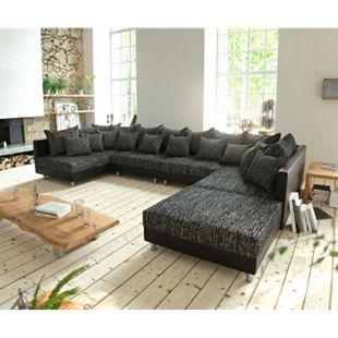 Couch Clovis XL Schwarz mit Hocker Wohnlandschaft Modulares Sofa - Bild 1
