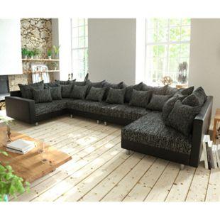 Couch Clovis XL Schwarz mit Armlehne Wohnlandschaft Modulsofa - Bild 1