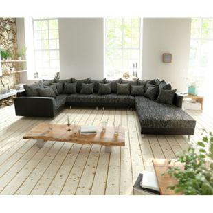 Couch Clovis XL Schwarz mit Hocker und Armlehne Wohnlandschaft modular - Bild 1