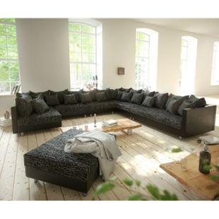 Couch Clovis XXL Schwarz mit Hocker Ottomane Rechts Wohnlandschaft Modulsofa - Bild 1