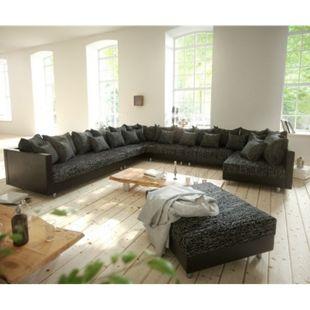 Couch Clovis XXL Schwarz mit Hocker Ottomane Links Wohnlandschaft Modulsofa - Bild 1