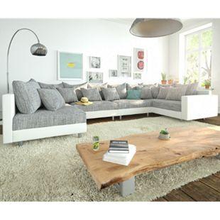 Couch Clovis XL Weiss Hellgrau mit Armlehne Wohnlandschaft modular - Bild 1