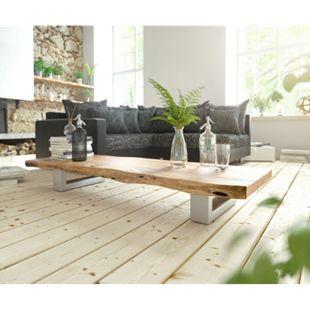 Wohnzimmertisch Live-Edge Akazie Natur 165x60 Baumkante Kufengestell Couchtisch - Bild 1