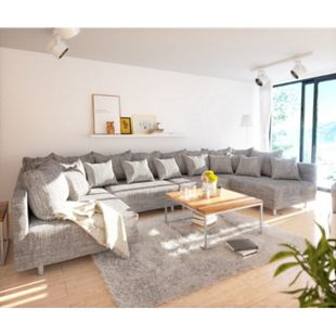 Couch Clovis XL Hellgrau Strukturstoff Wohnlandschaft modular - Bild 1