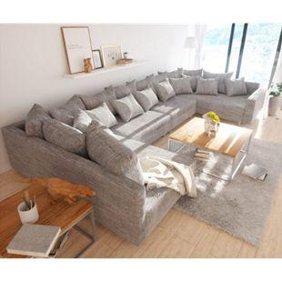 Couch Clovis XL Hellgrau Strukturstoff mit Armlehne Wohnlandschaft modular - Bild 1