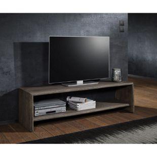 Fernsehtisch Live-Edge Akazie Platin 165 cm mit Fach Baumkante Lowboard - Bild 1