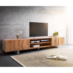 Fernsehtisch Live-Edge Akazie Natur 300 cm 4 Türen 2 Fächer Baumkante Lowboard - Bild 1