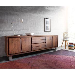 Fernsehtisch Live-Edge Akazie Braun 200 cm 4 Türen 2 Schübe Baumkante Lowboard - Bild 1