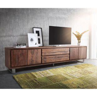 Fernsehtisch Live-Edge Akazie Braun 300 cm 4 Türen 2 Schübe Baumkante Lowboard - Bild 1
