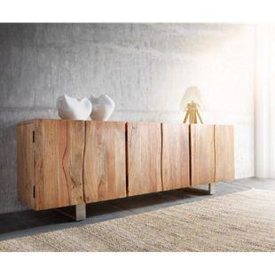 Kommode Live-Edge Akazie Natur 220 cm 6 Türen Massivholz Baumkante Sideboard - Bild 1