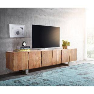 Fernsehtisch Live-Edge Akazie Natur 220 cm 6 Türen Massivholz Baumkante Lowboard - Bild 1