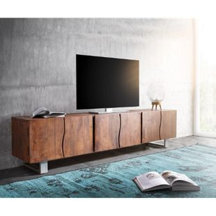 Fernsehtisch Live-Edge Akazie Braun 220 cm 6 Türen Massivholz Baumkante Lowboard - Bild 1