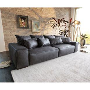 Bigsofa Sirpio XL Anthrazit 270x125 cm Kedernaht Vintage mit Kissen Big Sofa - Bild 1