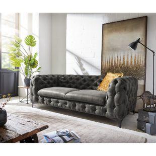 Sofa Corleone Anthrazit 225x97 Vintage 3-Sitzer Couch - Bild 1