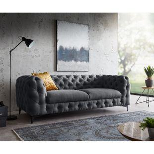 Sofa Corleone Graphite 225x97 cm 3-Sitzer Couch - Bild 1
