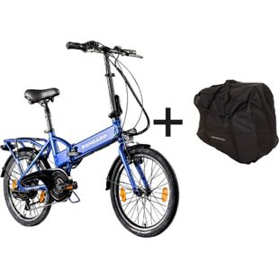 Zündapp Z101 20 Zoll E-Klapprad mit Tasche E-Bike Faltrad Pedelec... blau