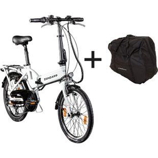 Zündapp Z101 20 Zoll E-Klapprad mit Tasche E-Bike Faltrad Pedelec... weiß