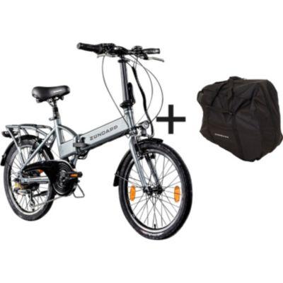Zündapp Z101 20 Zoll E-Klapprad mit Tasche E-Bike Faltrad Pedelec... silber