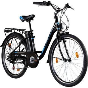 Zündapp Z500 26 Zoll E-Bike Citybike Pedelec Tiefeinsteiger Damenfahrrad Heckantrieb... schwarz, 43 cm, schwarzer Akku - Bild 1
