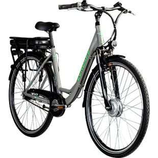 Zündapp Z502 700c E-Bike Citybike Pedelec 28 Zoll E Damenfahrrad Elektrofahrrad Tiefeinsteiger... grau/grün, ohne Korb - Bild 1