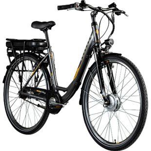 Zündapp Z502 700c E-Bike Citybike Pedelec 28 Zoll E Damenfahrrad Elektrofahrrad Tiefeinsteiger... grau/orange, ohne Korb - Bild 1