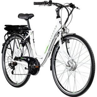 "Zündapp Z504 26 Zoll E-Bike Damenrad Pedelec 26"" E Cityrad Stadtrad E Damenrad... weiß/grün, 49 cm - Bild 1"