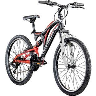 Kron Ares 3.0 24 Zoll Mountainbike Jugendfahrrad Fully MTB Jugendrad Fahrrad... schwarz/rot/weiß - Bild 1